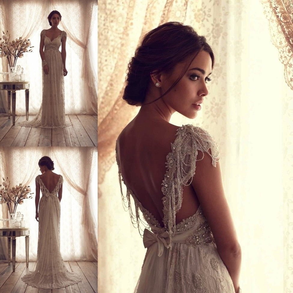 Anna Campbell Wedding Gowns: Anna Campbell Wedding Dresses Ivory Lace Sexy V Backless