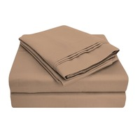 1000 Thread Count Premium Egyptian Cotton, Single Ply, Queen Waterbed Bed Sheet Set, Solid, Taupe