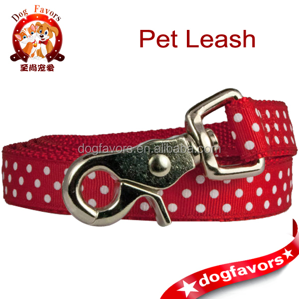 "Red Dog Leash 3/4"" or Traffic Dog Lead in Preppy Red & White Polka Dots"