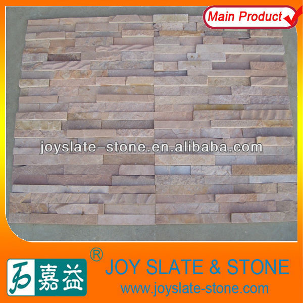 pink sandstone culture stone,natural flagstone for wall cladding