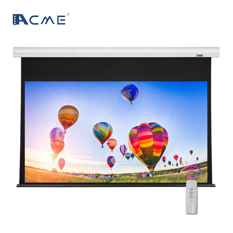 Remote Control Motorized Tubular Automatic 110 inch Electrical Projection Screen for Projector with Fiberglass White Fabric