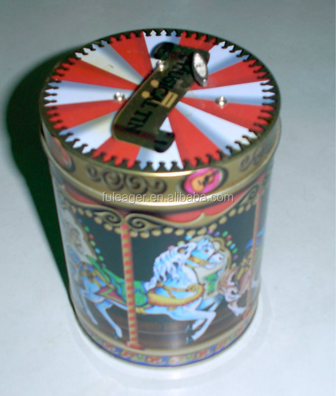 Christmas musica tin box, handmade music box
