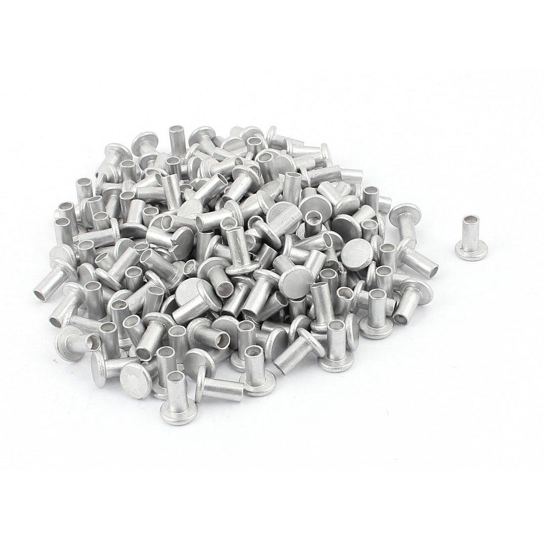 U-nique 50 Pcs 13//64 x 1 25//32 Nickel Plated Oval Head Semi-Tubular Rivets Silver Tone