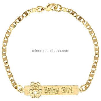 Gold Plated Newborn Bracelets Baby Id Bracelet Teddy Bear Birth Gift