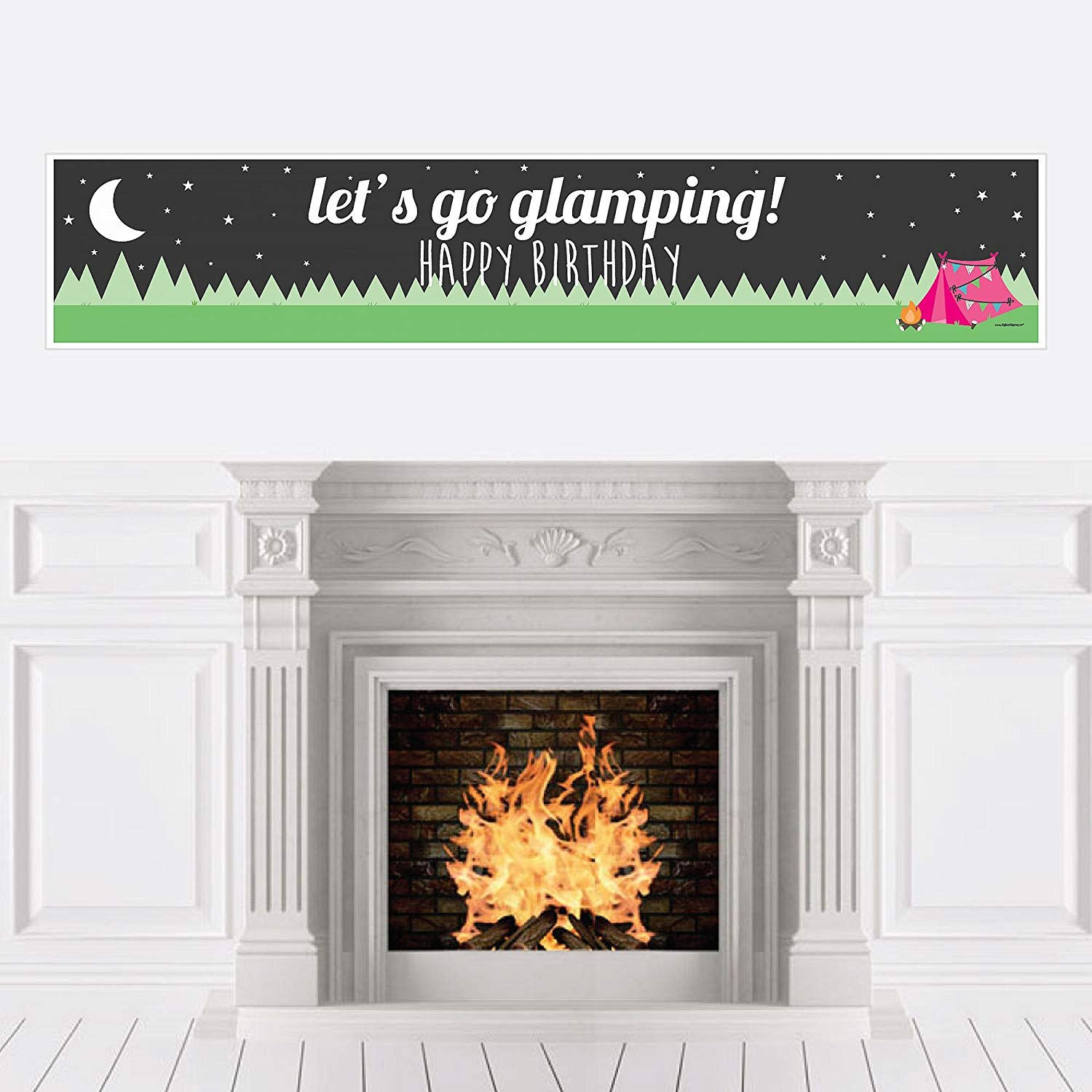 Big Dot of Happiness Let's Go Glamping - Camp Glamp Birthday Party Decorations Party Banner