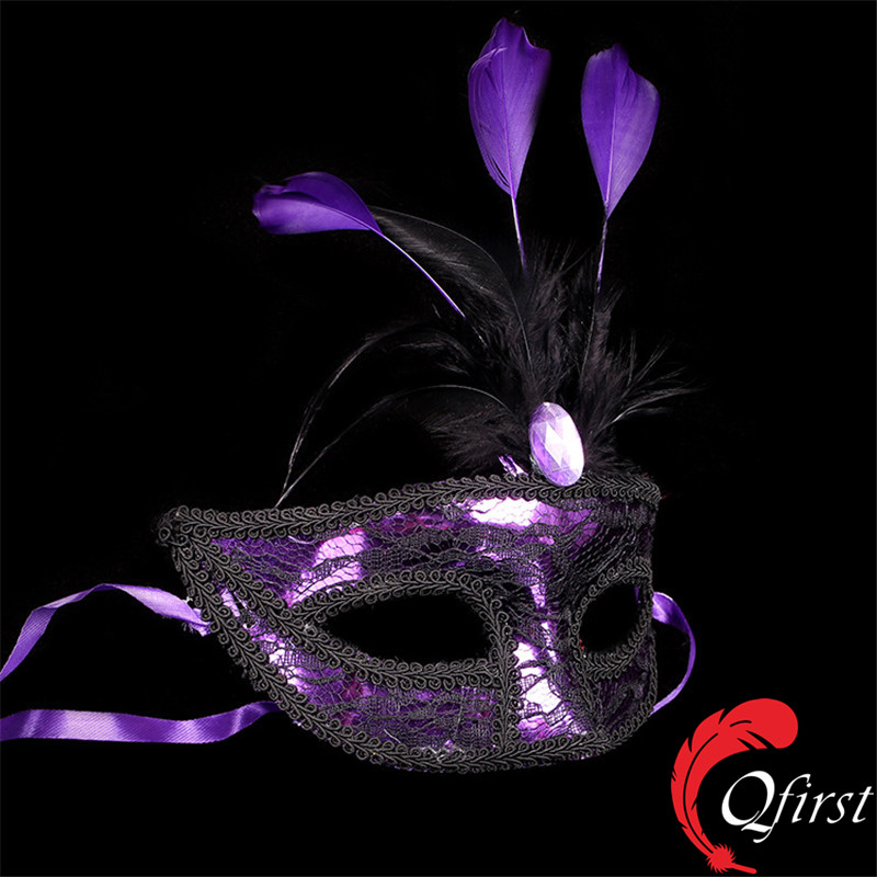 New arrival purple cock feather party mask