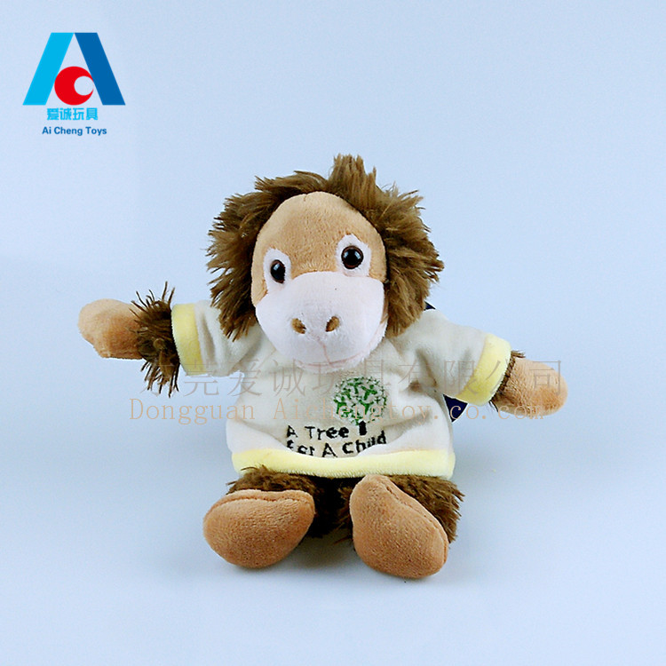 Lovely plush toy orangutans with t shirt can be printed logo