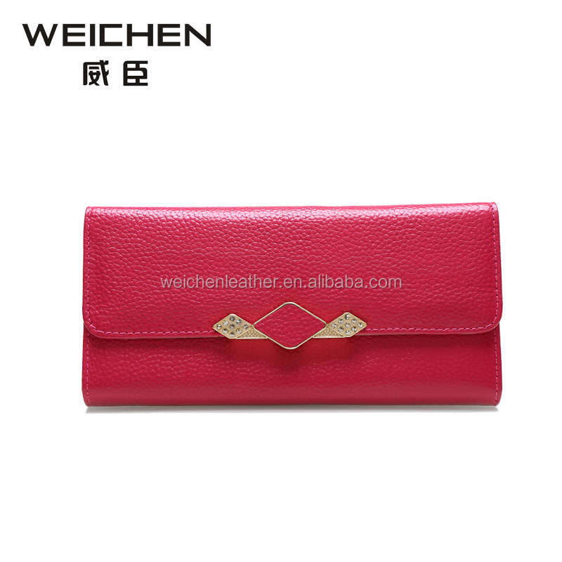 2017 leather wallet for lady zippered ladies leather wallet
