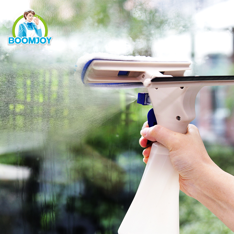 Household handheld spray window cleaner with squeegee