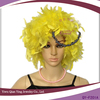 lady's cheap colorful yellow short wig feather party wig