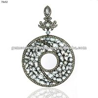 Pave Diamond Disc Pendant, Aquamarine Gemstone Victorian Oval Pendant Jewelry