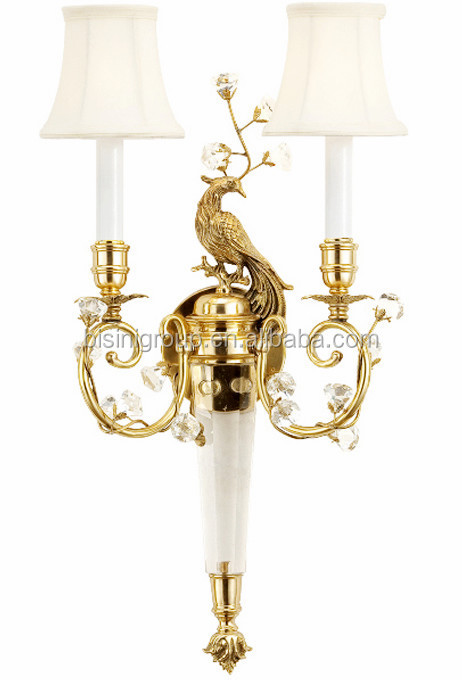 Elegant Golden Peacock 2 Light Brass Sconce High End