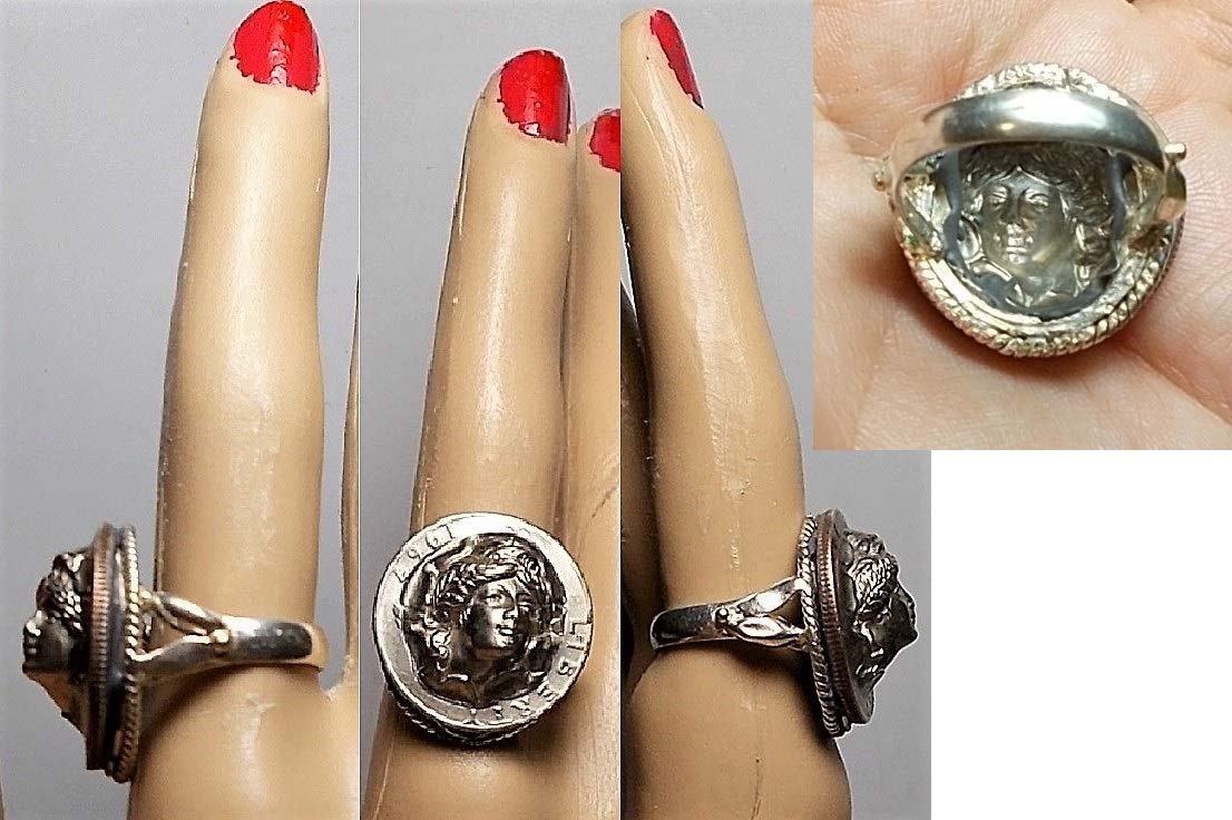 One 1967 Lady Liberty Popped Out RING of Liberty Quarter Coin Cameo, Full Face Forward w/Wheat & Crown in Hair 50+ Yrs Old OOAK Ring.