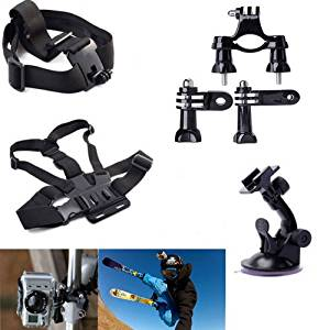 JVJ Set Kit 8 In1 Handlebar Mount + Suction Cup + Chest Strap+ Head Strap + 2 X Joint + 2 X Screws for Gopro Hero 1 2 3 3+ 4 H16