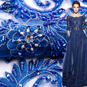 High quality new blue evening dress blue heavy handwork beaded fabric lace