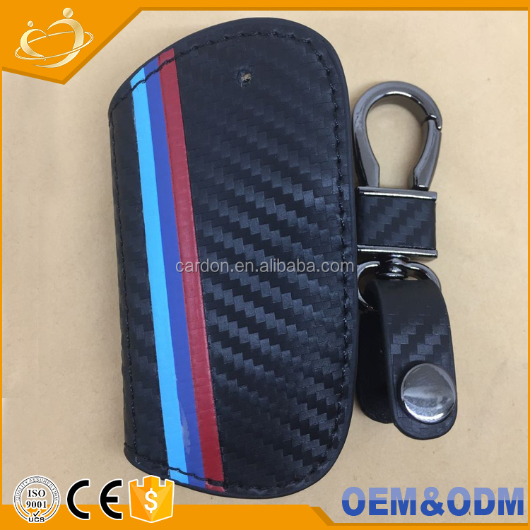 real carbon fibre keychain leather key case Organizer Bag cover holder for X5