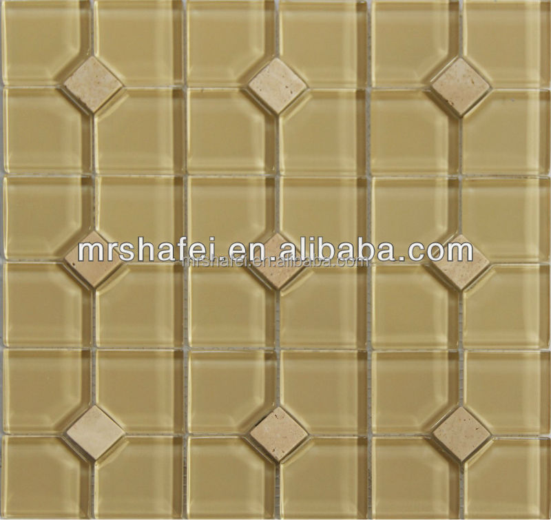 Square marble tile mix glass tile for bathroom