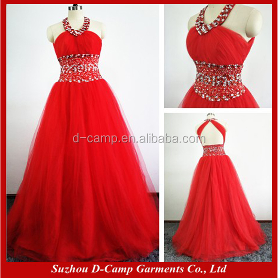 EL060 Backless halter ball gown long red prom dresses 2016