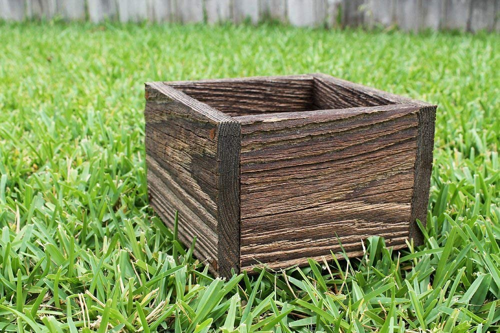 "Square Rustic Farm Planters Box 4""W, 5""W and 6""W(3.25"" - 3.75""T - Short Version)"