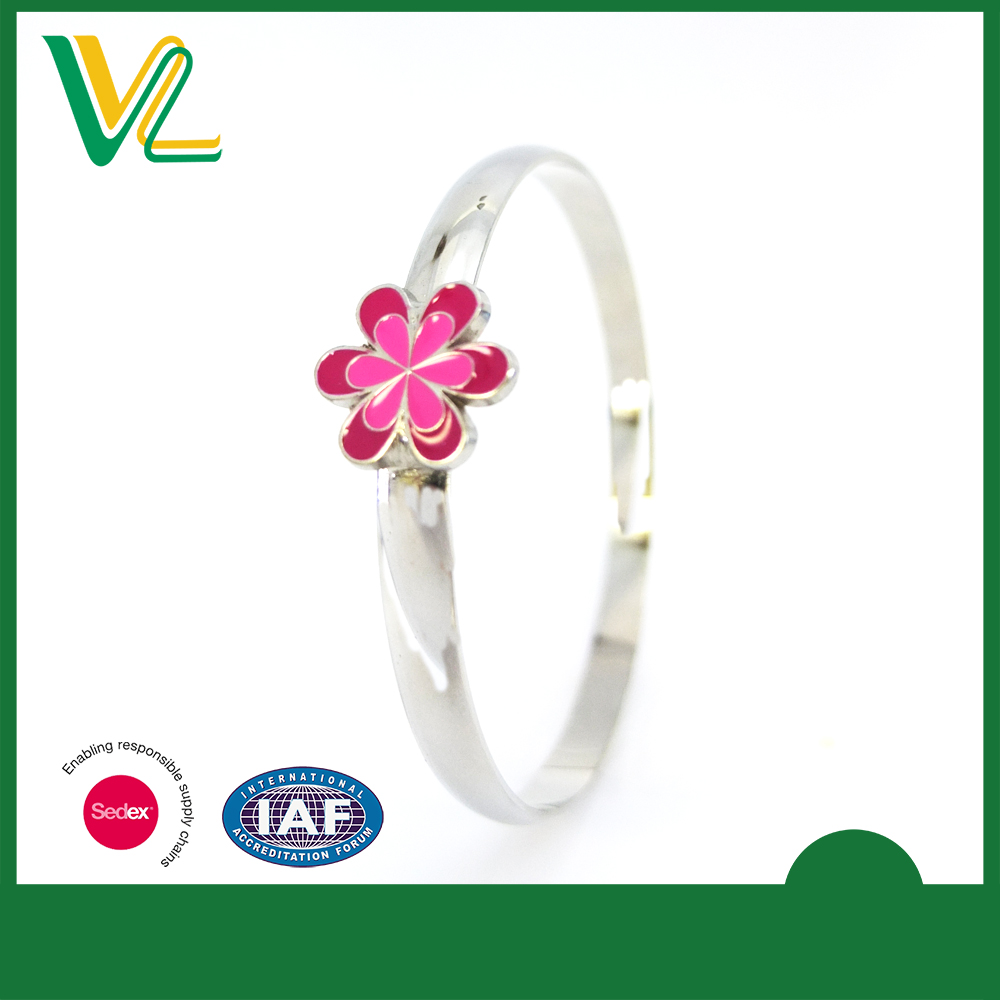 Customized high quality Die Casting Flower Imitation rhodium Plain Accessory Bangle Bracelet