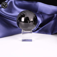 MH-BL092 Black crystal globe engraving map on surface ball