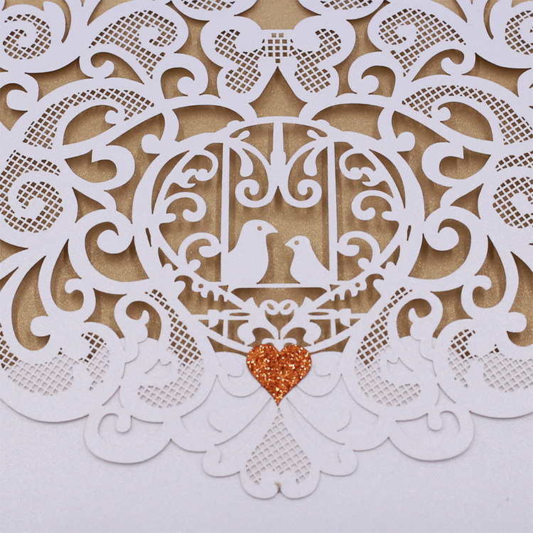 High quality cheap price luxury laser cut unique wedding invitations