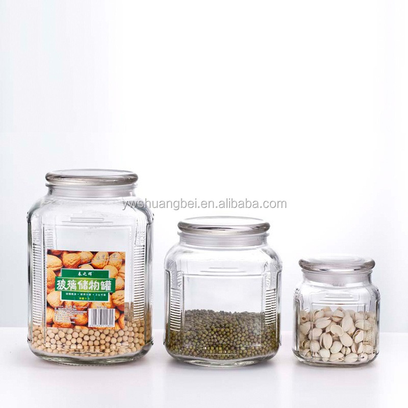 Hot Selling Glass Food/Honey/Cookie Storage Jar Big Clear Glass Jar With Lid