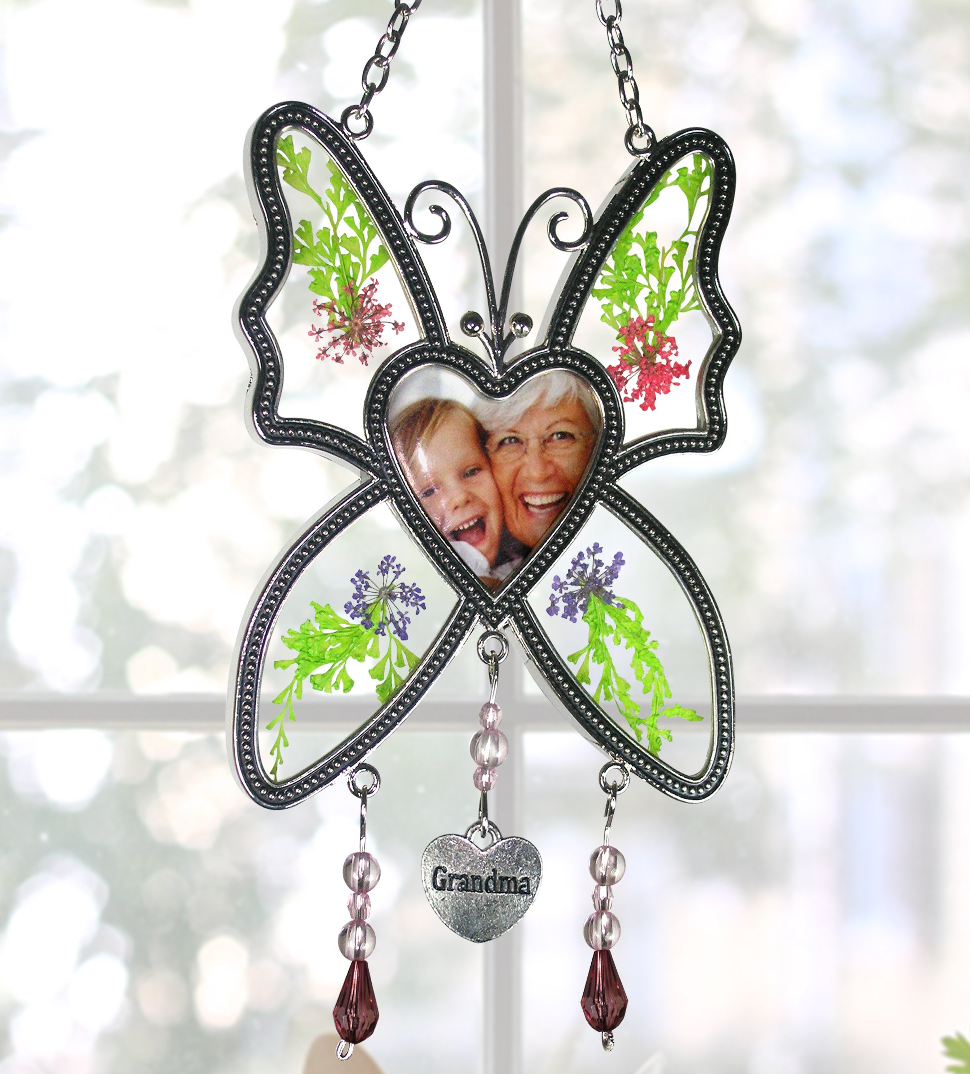 BANBERRY DESIGNS Grandma Photo Butterfly Suncatcher - Pressed Flowers with a Heart Shaped Picture Opening