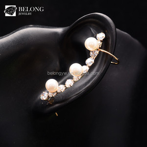 BLPE0026 fashion pearl ear cuff , zirconia jewelry