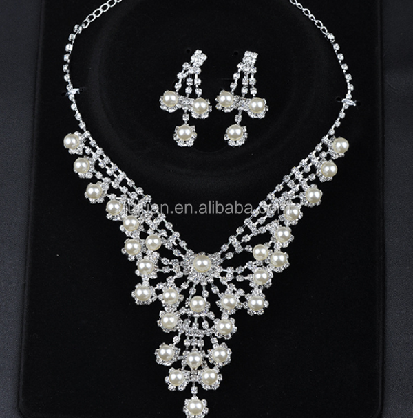 Elegant Crystal Pearl Bridal Jewelry Sets Necklace Earring Wholesale