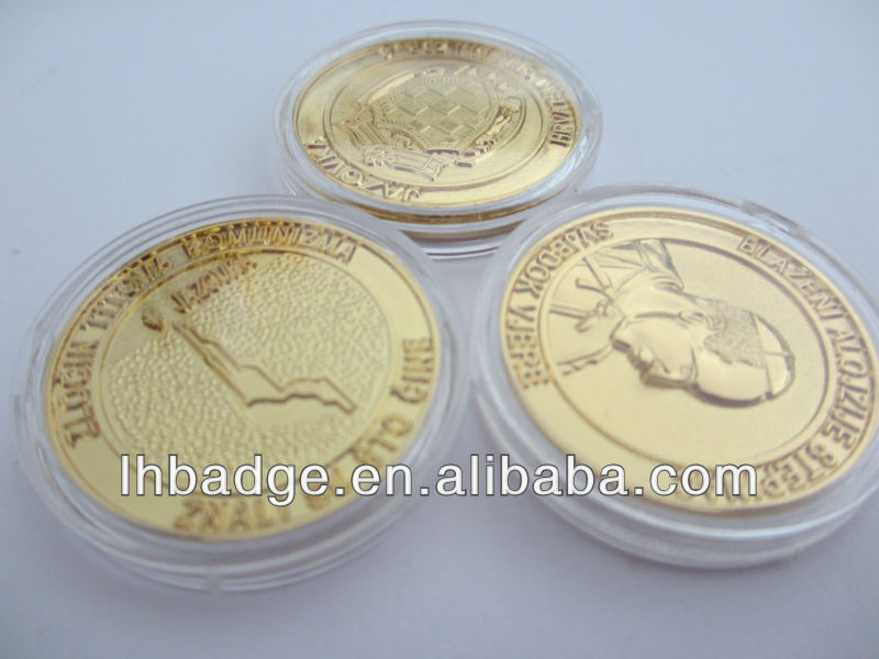 3D gold coins with clear box,double-side embossed souvenior coins
