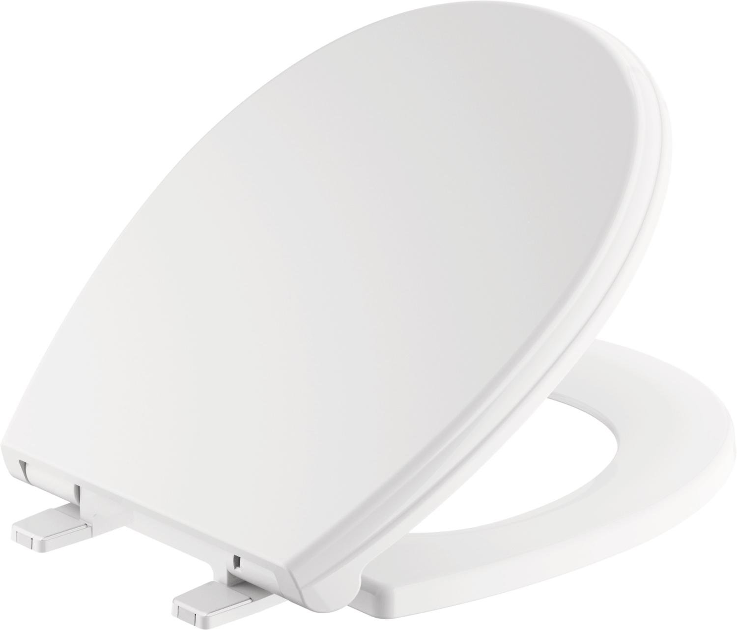 Delta Faucet 801901-WH Wycliffe Round Front Slow-Close Toilet Seat with Non-slip Seat Bumpers, White
