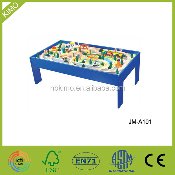 101pcs Kids Wooden Railway Track Train Table