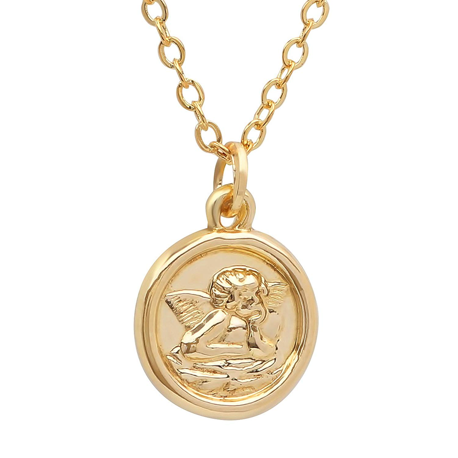 Pori Jewelers 14K Solid Yellow Gold Religious Angel Medallion Pendant in 14K Gold cable chain -18""