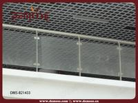 Stainless post glass handrail for concrete embed