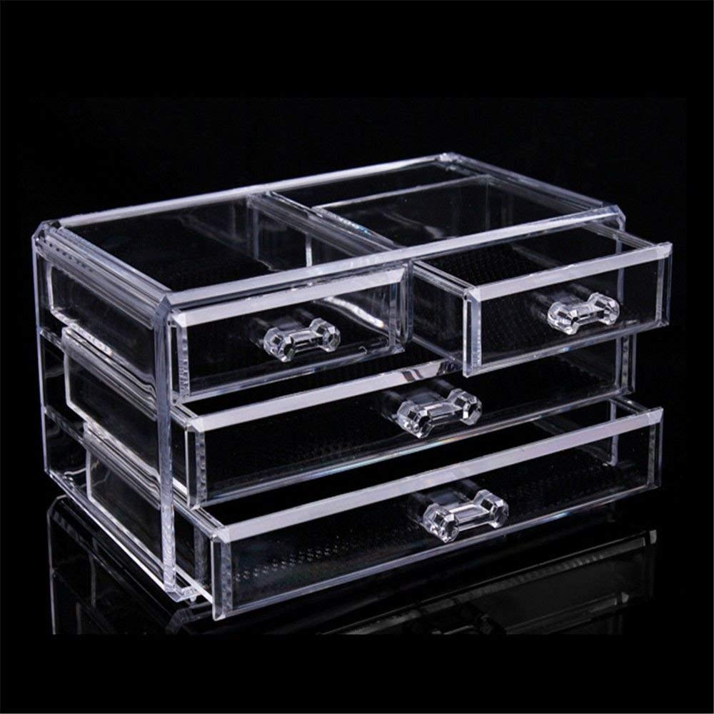 ZQ Cosmetics/Stationery/Small Items Transparent Acrylic Plastic Desktop 2 Large Drawers/2 Small Drawer Storage Boxes