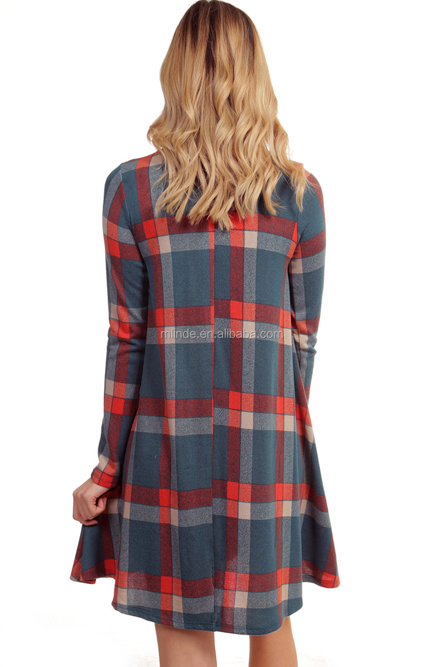 import high quality plus size XXXXL USA women mock neck plaid checked winter spring fashion dress chinese clothing manufacturers