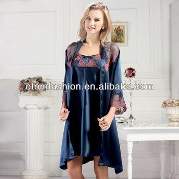 Hot Sale100%silk Stylish And Elegant Ladies Dressing Gown Robe Set ...