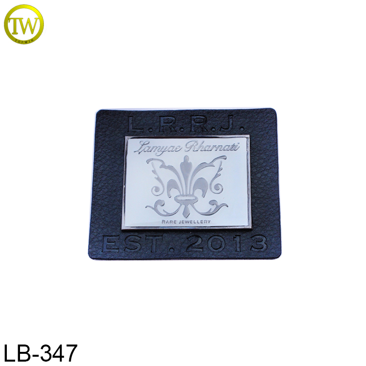 Custom metal logo embossed designer leather patch/labels/tags for clothes