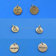 stamped logo brass metal jewelry tags - Round shape engrave logo brass jewelry charms