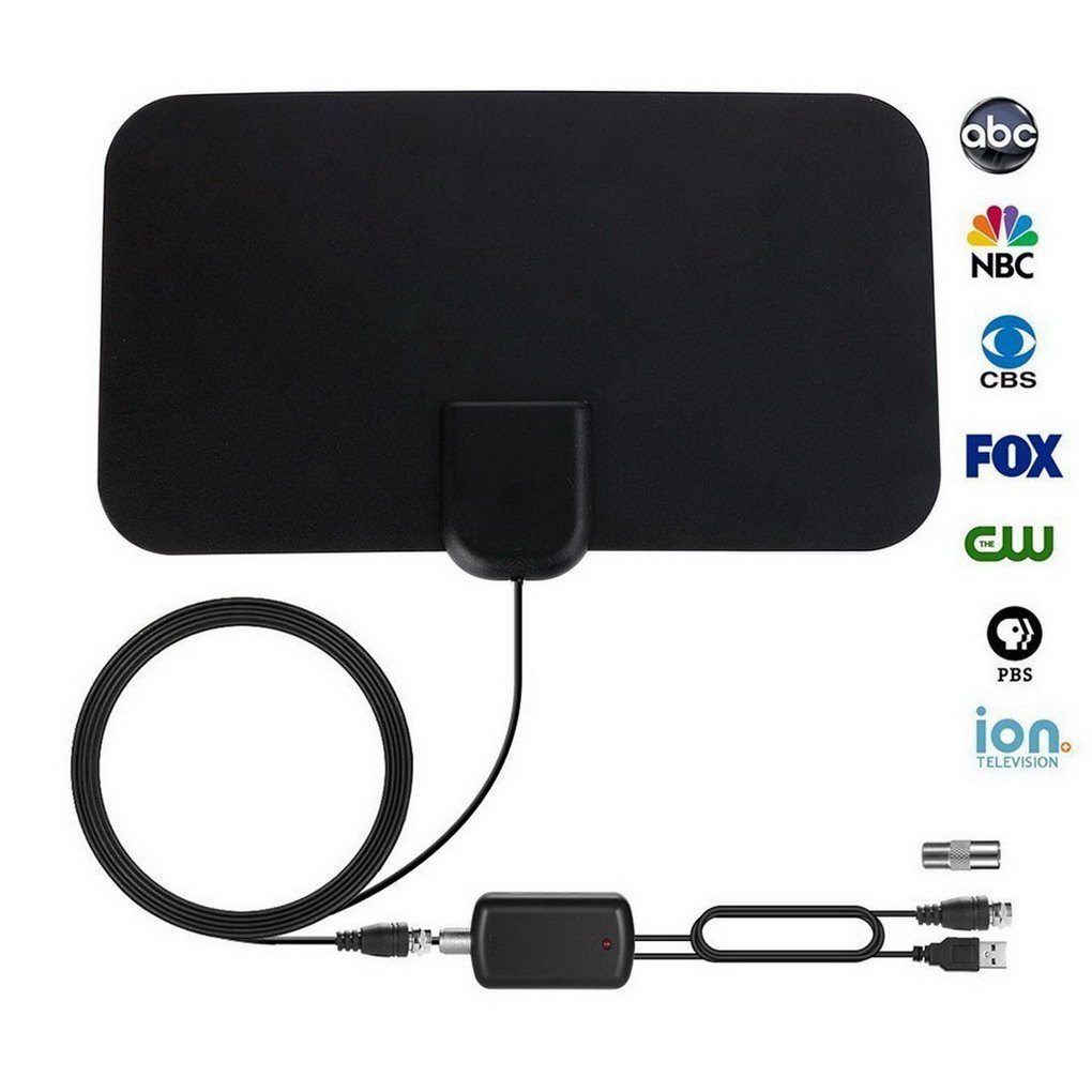 TV Aerial, ACMEDE Slim Amplified Digital TV Aerial HDTV Antenna, 50 Mile Range Indoor HDTV Aerial with 13 FT Long Cable for Digital and Analog TV Signals, Window Aerial