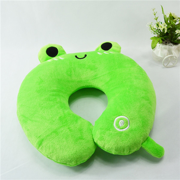 "12""30cm plush stuffed green frog shape neck pillow,Children favored animal U-shape pillow,frog pillow toy stuffed"
