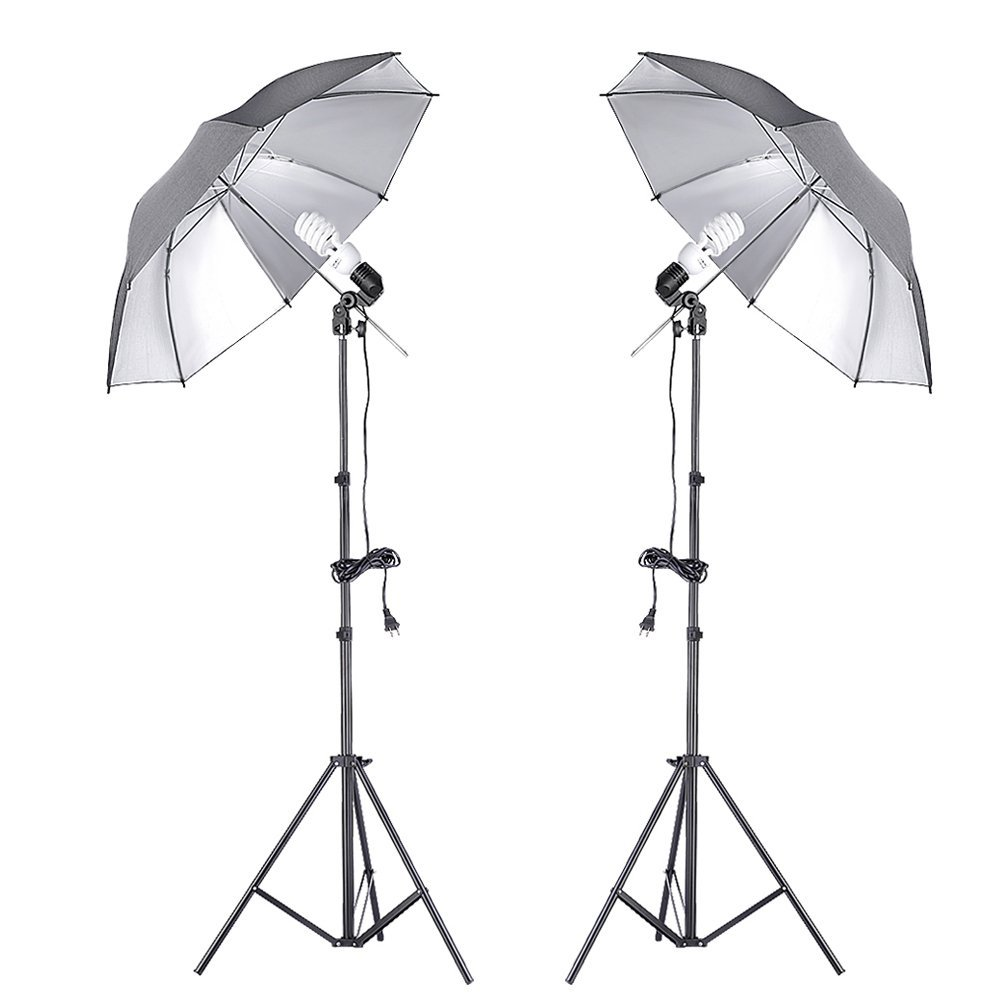 "Neewer® 400W 5500K Double Continuous Lighting Umbrella Kit for Photography,includes:(2)7ft/200cm Light Stand+(2)Single Head Light Holder+(2)45W Daylight Bulb +(2)33""/84cm Black/Silver Umbrella"