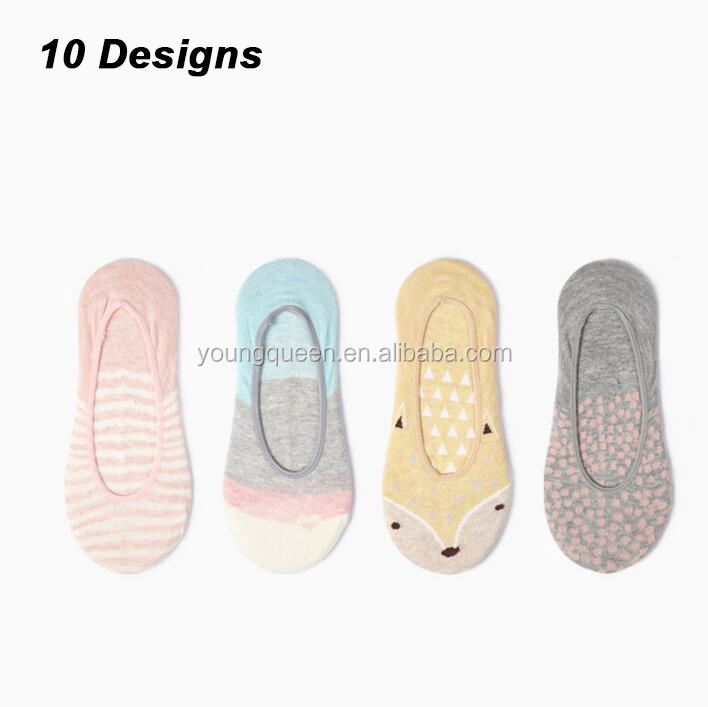 QY10 women invisible cartoon animal boat socks