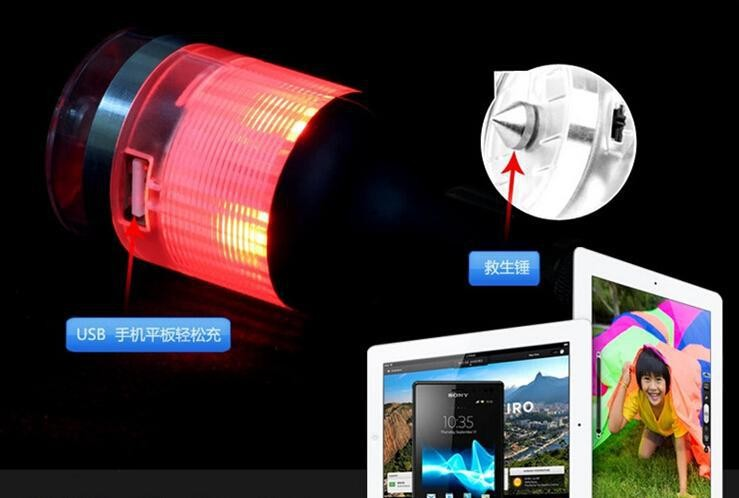 wholesale 4 in 1 multi-function led flash warning light, safety hammer car charger