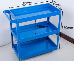 Durable colorful 3 layers garden workshop metal tool trolley