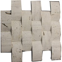 Arch shape white travertine mosaic tile in tunisia