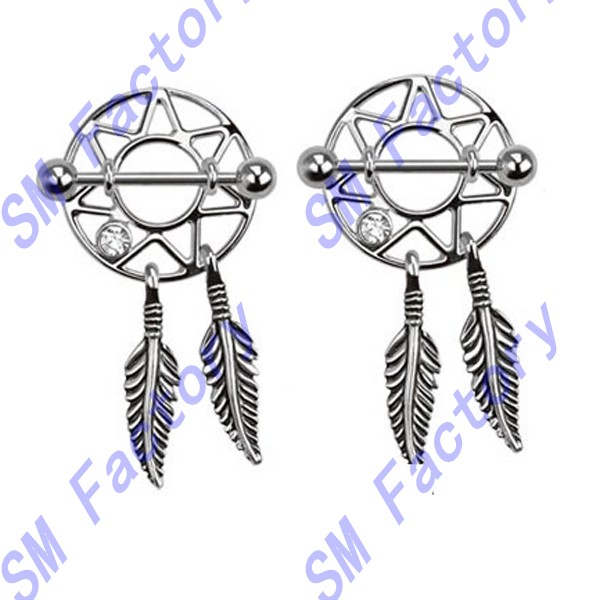 316l surgical steel dream catcher feather nipple shield gem 14 gauge -- SMRH42005