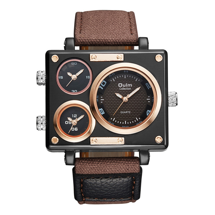 OULM Foreign Trade <strong>Hot</strong> Men's Watch Manufacturers Wholesale Canvas Strap Multi Time Zone Men's Square Watch