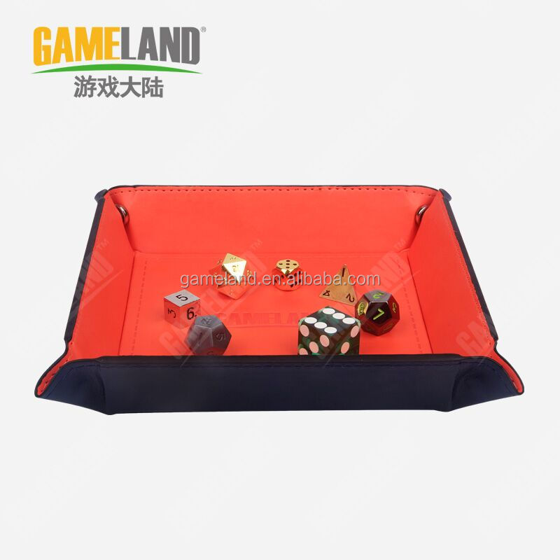 Collapse Portable PU Leather Dice Tray For Board Game Card Games